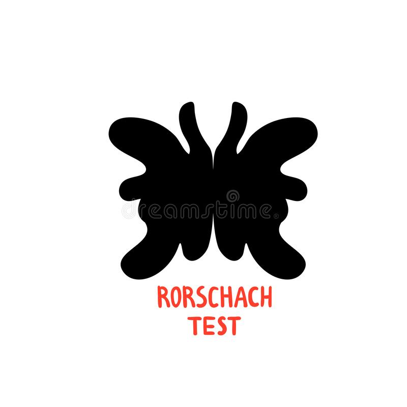 Psychology. Rorschach test. Psychotherapy and psychological services, rorschach test inkblots. Doodle style flat vector vector illustration