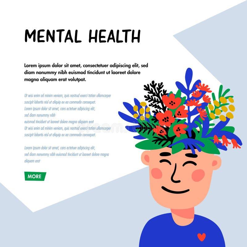 psychology Saúde mental Caráter do homem com cabeça de flor Conceito da saúde mental, bom humor, harmonia Plano do estilo da gara ilustração stock