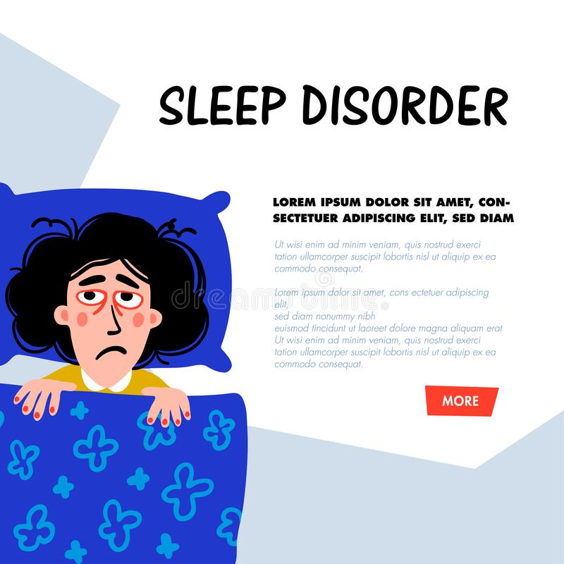 Psychology. Sleep disorder. Woman character with insomnia in bed. Sleepless female person with tired sadness face and. Psychology. Sleep disorder concept. Woman stock illustration