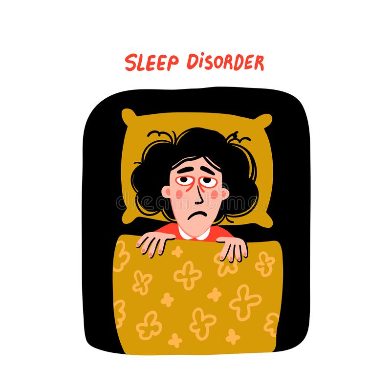 Psychology. Sleep disorder. Woman character with insomnia in bed. Sleepless female person with tired sadness face and. Red eyes. Doodle slyle flat vector stock illustration