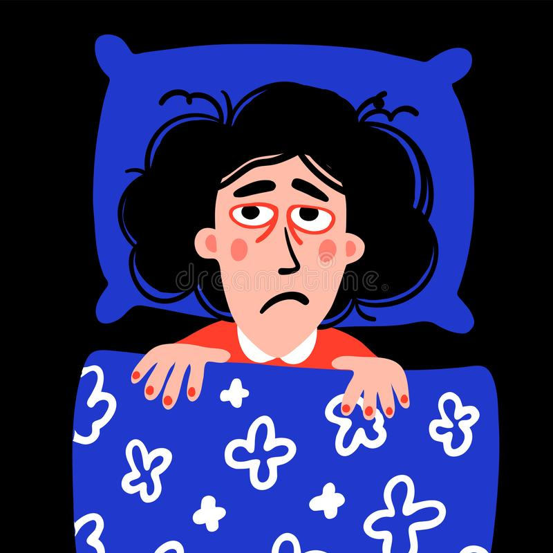 Psychology. Sleep disorder. Woman character with insomnia in bed. Sleepless female person with tired sadness face and. Red eyes. Doodle style flat vector royalty free illustration