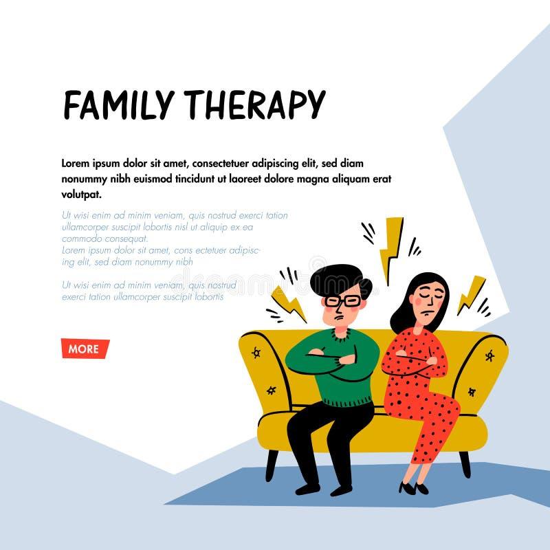 psychology Terapia de fam?lia Caráteres infelizes dos pares da família na sessão do psychotherapist Vetor liso do estilo da garat ilustração stock