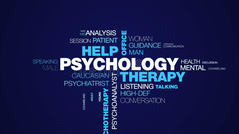 Psychology therapy help office psychologist psychiatry female therapist advice psychotherapy professional animated word. Cloud background in uhd 4k 3840 2160 stock images