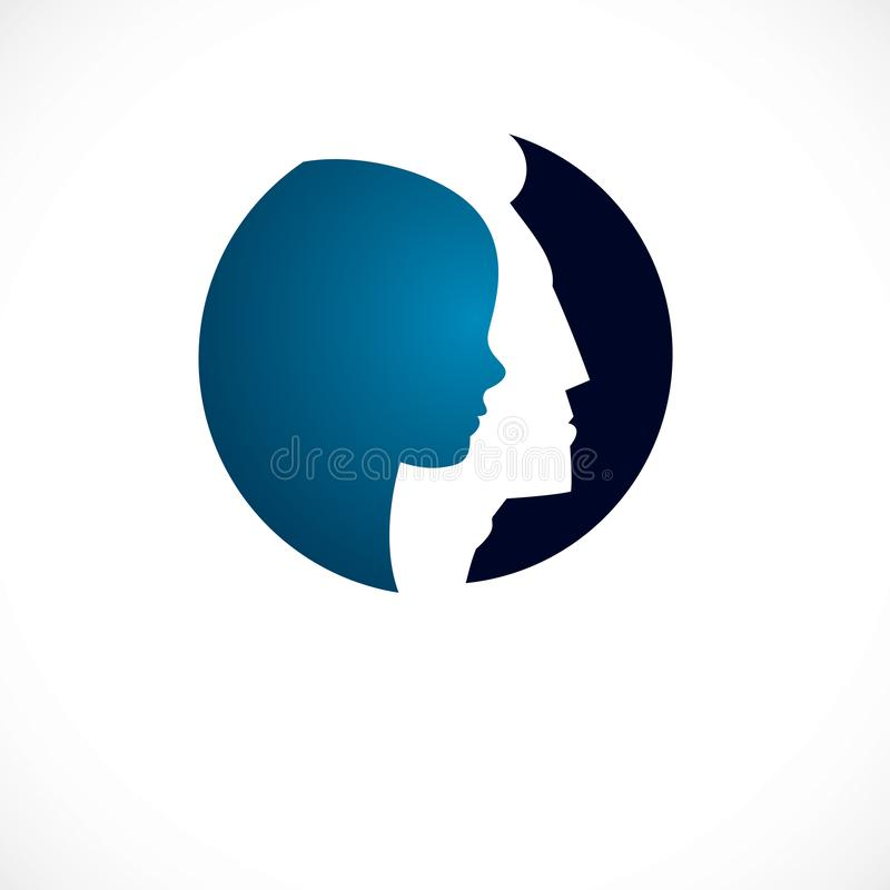 Psychology vector logo created with man head profile and little. Child boy inside, inner child concept, origin of human individuality and psychic problems stock illustration