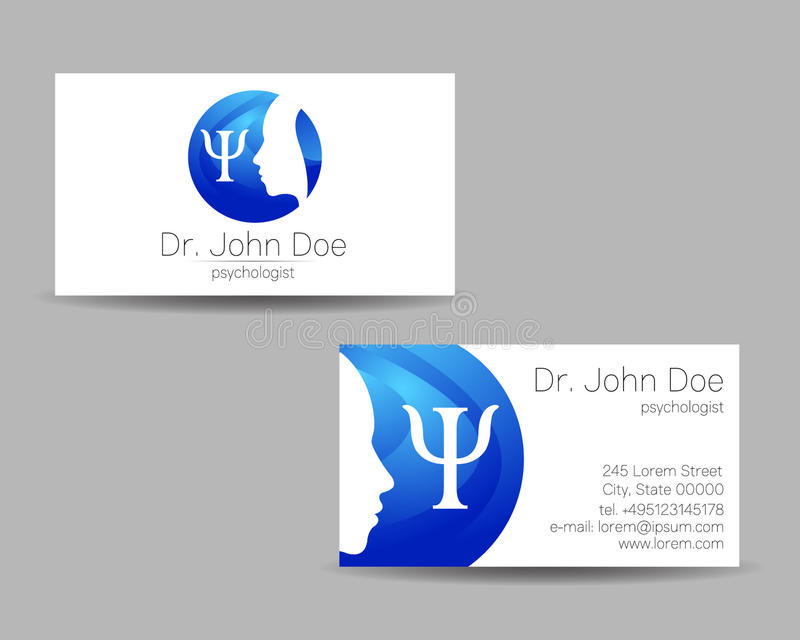 Psychology vector visit card. Modern logo. Creative style. Design concept. Brand company. Blue color isolated on gray background. Symbol for web, print vector illustration