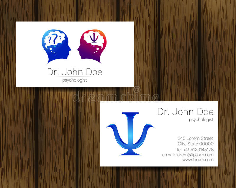 Psychology vector visit card. Modern logo. Creative style. Design concept. Brand company. Blue violet color isolated on tree background. Symbol for web, print stock illustration