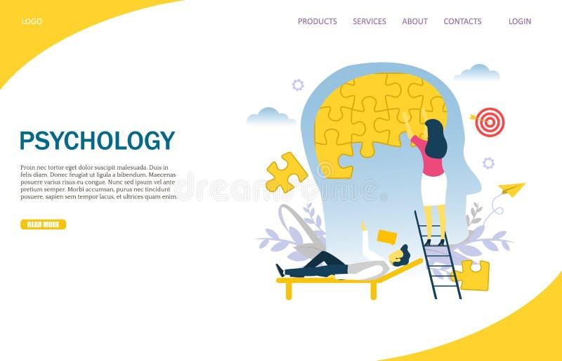 Psychology vector website landing page design template. Psychology vector website template, web page and landing page design for website and mobile site royalty free illustration