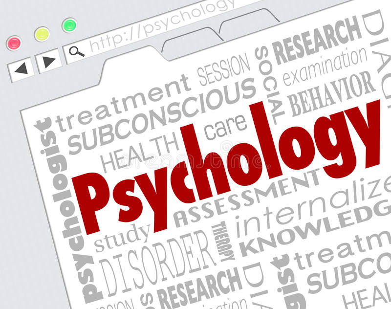 Psychology Website Online Research Mental Health Illness Disorder Diagnosis. Psychology word on a website screen to illustrate online research for diagnosis or vector illustration