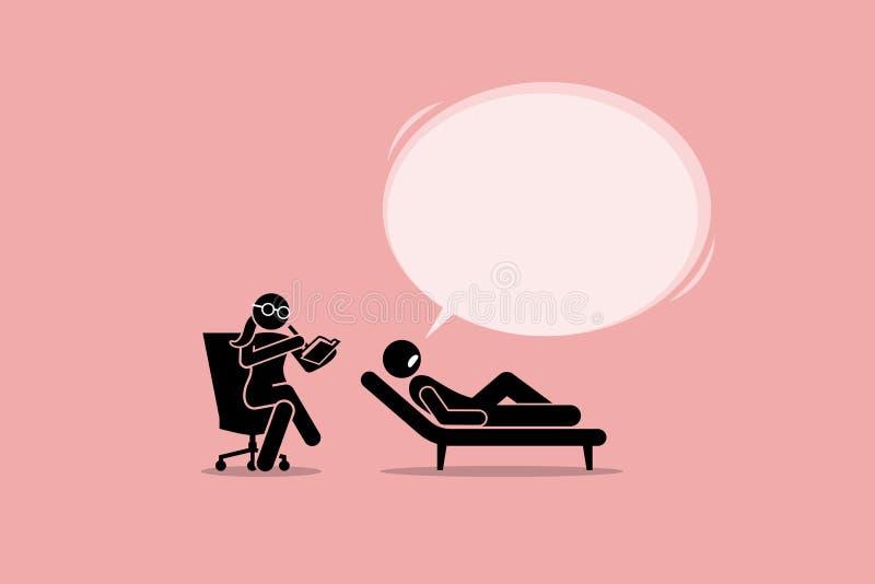Psycholoog Consulting en het Luisteren aan een Geduldig Geestelijk Emotioneel Probleem vector illustratie