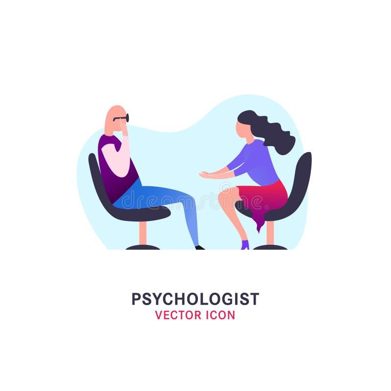 Psycholoog en psychotherapist pictogram vector illustratie