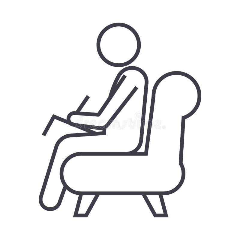 Psycholoog, pictogram van de adviseur het vectorlijn, teken, illustratie op achtergrond, editable slagen vector illustratie