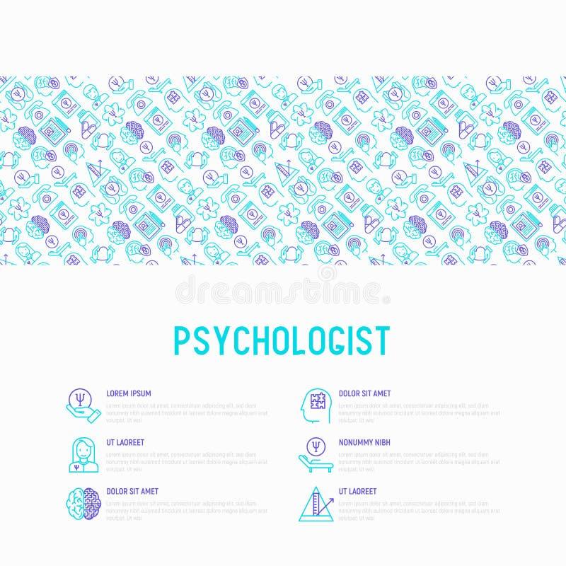 Psycholoogconcept met dunne lijnpictogrammen vector illustratie