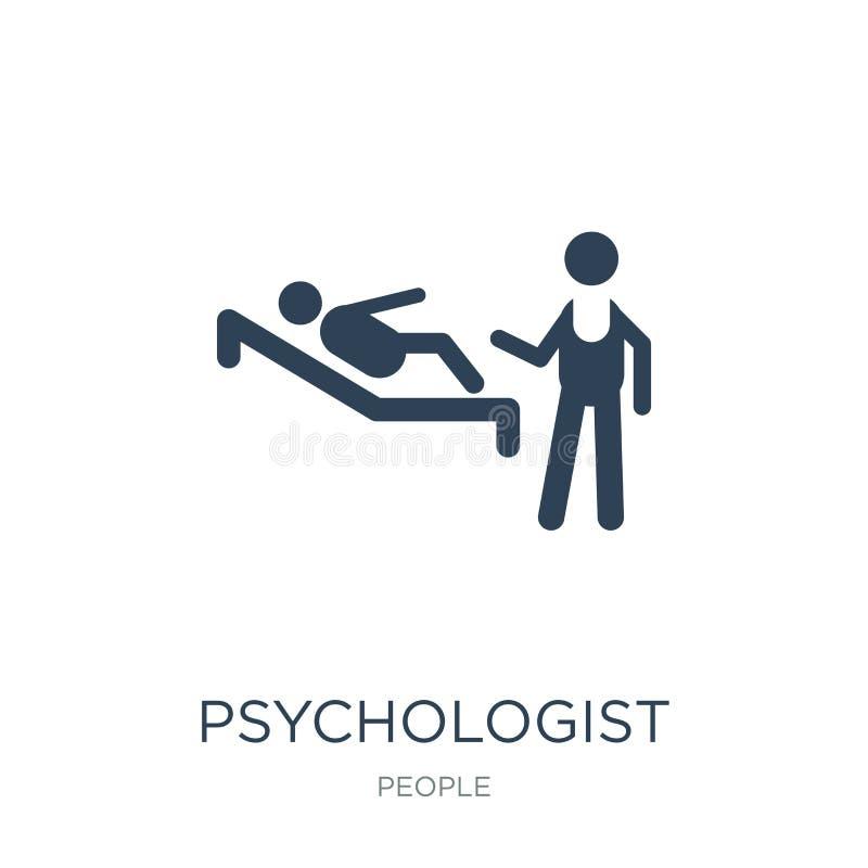 psycholoogpictogram in in ontwerpstijl psycholoogpictogram op witte achtergrond wordt geïsoleerd die eenvoudig psycholoog vectorp vector illustratie