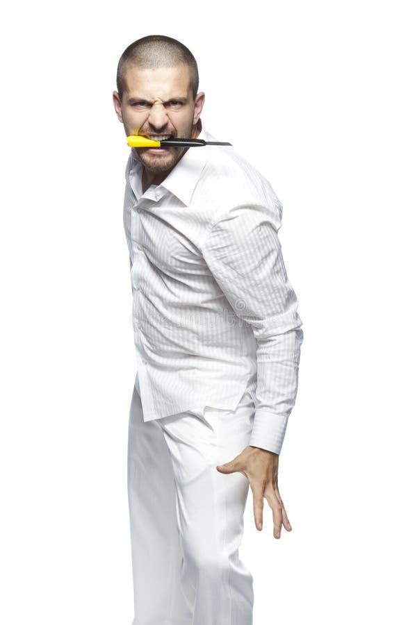Psychopata, odizolowywający na białym tle zdjęcia stock
