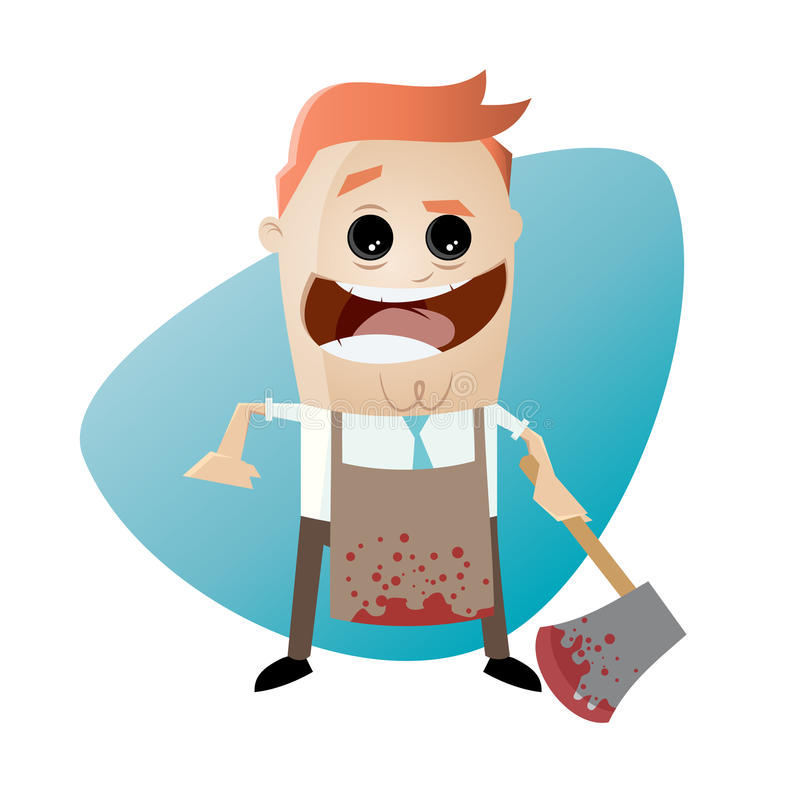 Psychopath with bloody hatchet and apron. Clipart of a psychopath with bloody hatchet and apron stock illustration