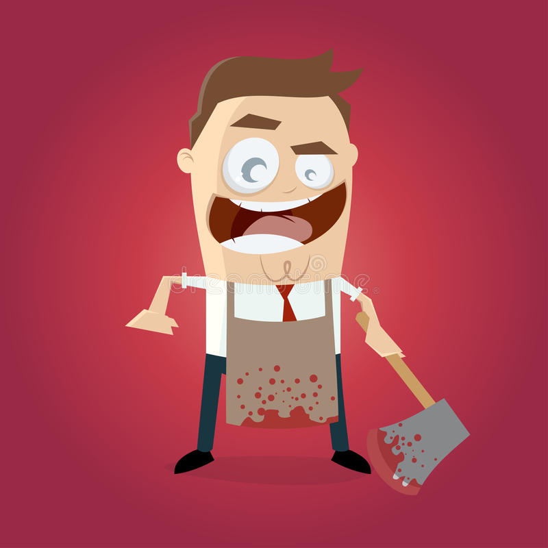 Psychopath with bloody hatchet and apron. Illustration of a psychopath with bloody hatchet and apron stock illustration