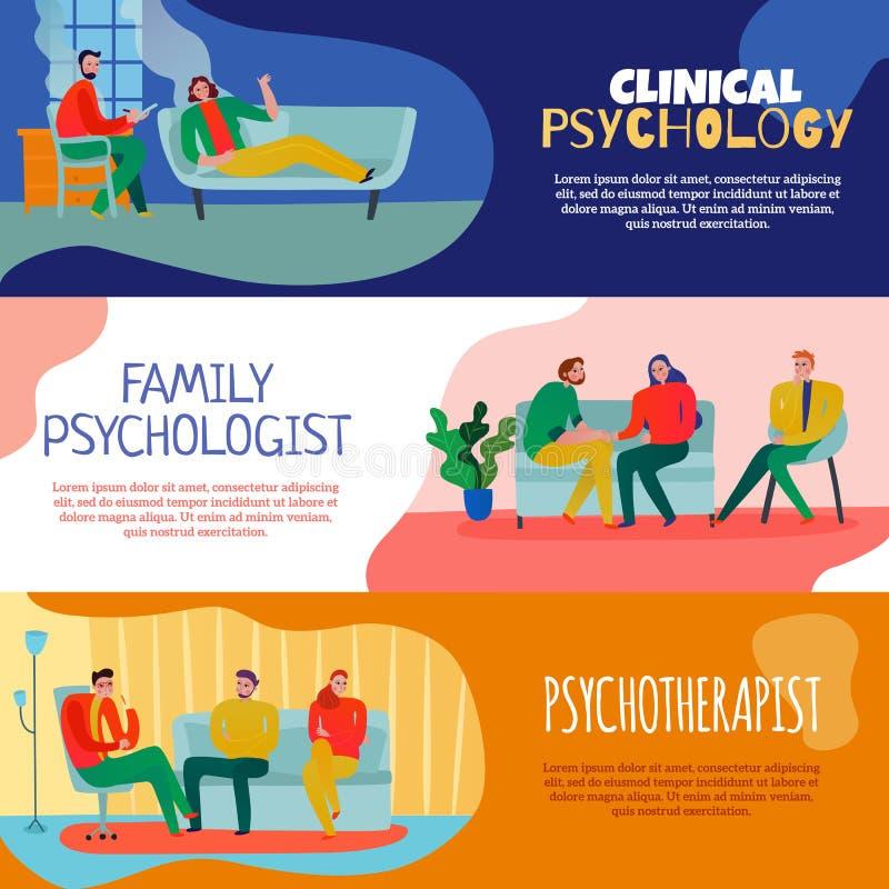 Psychothérapeute et psychologue Banners Set illustration de vecteur