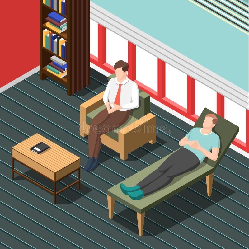 Psychothérapie conseillant le fond isométrique illustration libre de droits