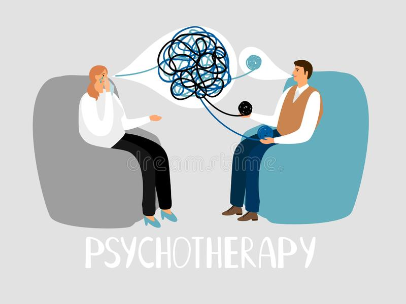 Psychotherapie, Behandlung von Geistesproblemen Psychotherapeut hört auf Patienten stock abbildung