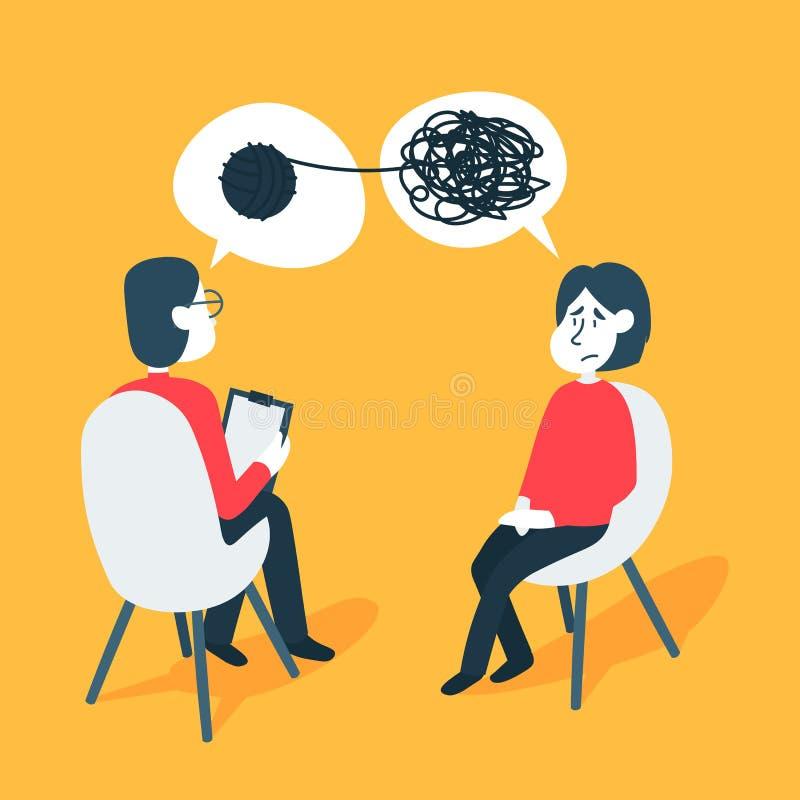 Psychotherapie, die Konzept ber?t Psychologemann und Patient der jungen Frau in der Therapie-Sitzung Behandlung des Druckes stock abbildung