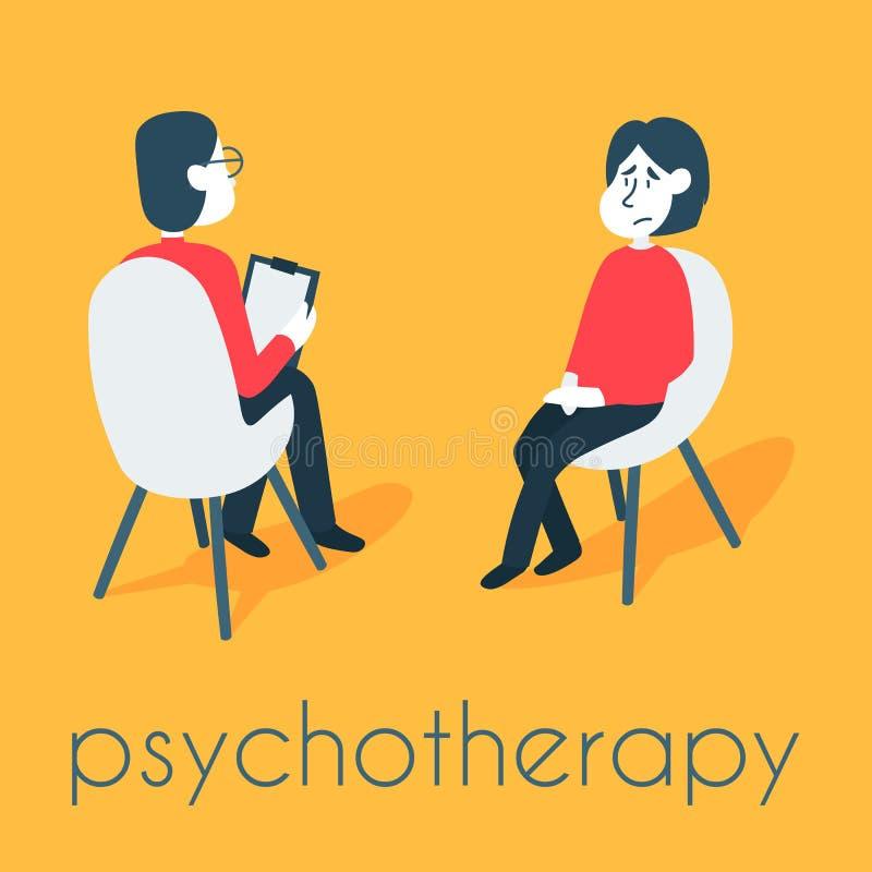 Psychotherapie, die Konzept ber?t Psychologemann und Patient der jungen Frau in der Therapie-Sitzung Behandlung des Druckes lizenzfreie abbildung