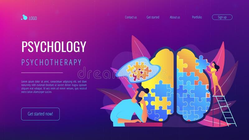 Psychotherapie en psychologie landende pagina royalty-vrije illustratie