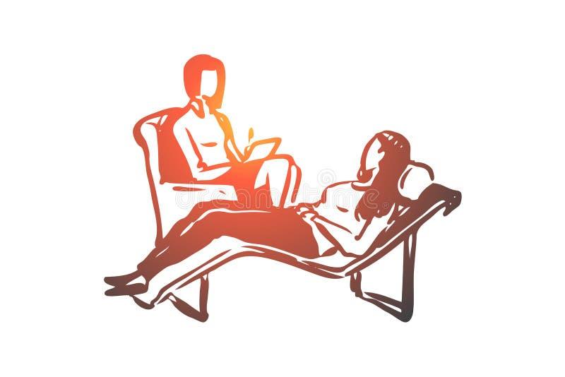 Psychotherapie, Frau, Patient, Problem, Unterhaltungskonzept Hand gezeichneter lokalisierter Vektor vektor abbildung