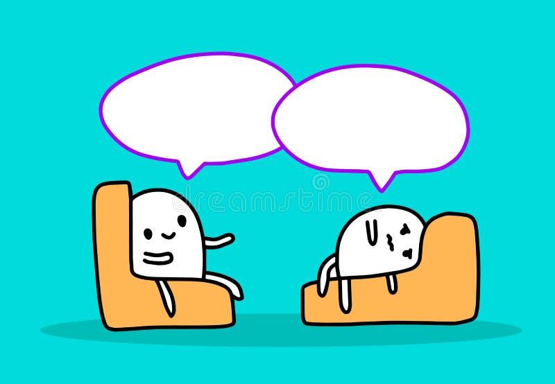 Psychotherapie mit Mann-Handgezogener Illustration mit zwei Karikaturen Vektor lizenzfreie abbildung