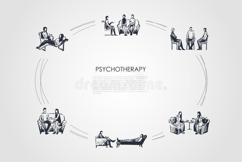 Psychotherapie - Psychotherapeut, der mit Patientenvektor-Konzeptsatz spricht vektor abbildung
