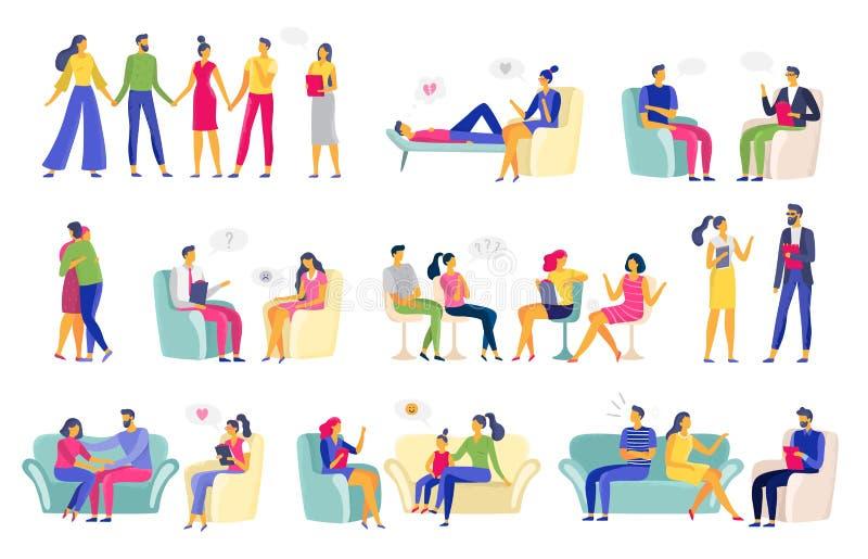 Psychotherapie-Sitzung Psychologische Therapie, Familienpsychologe und Psychotherapeutsitzungsvektorillustrationssatz vektor abbildung