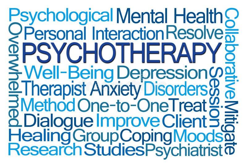 Psychotherapie-Wort-Wolke vektor abbildung