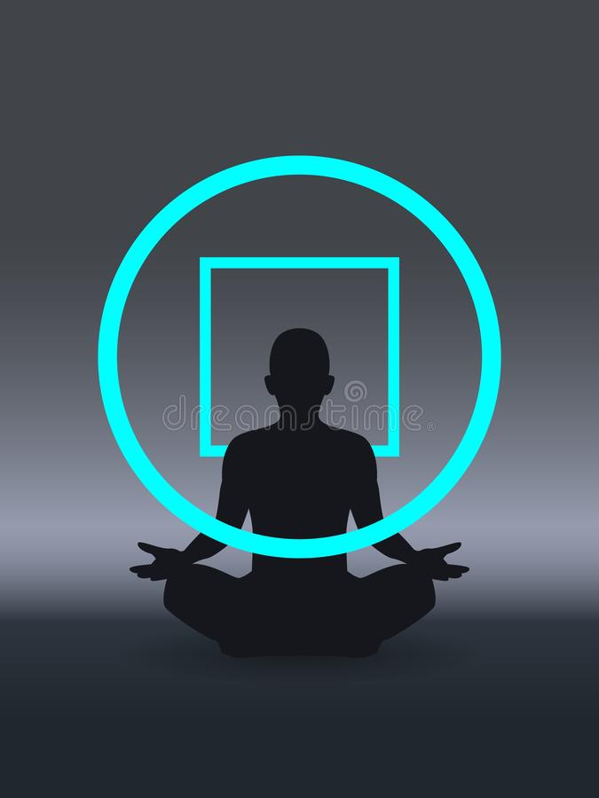Psychotherapieconcept, geestelijk welzijn, het positieve denken, zelfbewustzijn en mindfulness, die empathie, hersenenproblemen v vector illustratie