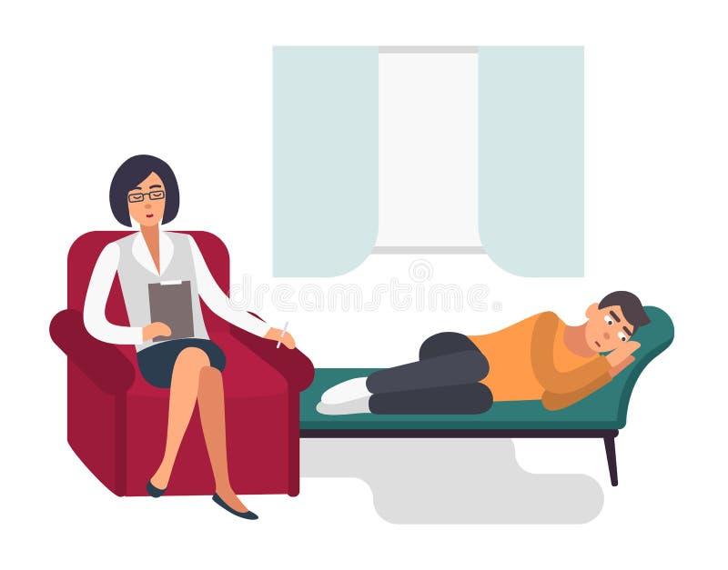 Psychotherapiekonzept Patient, Mann mit einer flachen Illustration Psychologe Colorful lizenzfreie abbildung