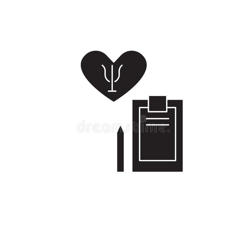 Psychotherapieschwarzvektor-Konzeptikone Flache Illustration der Psychotherapie, Zeichen stock abbildung