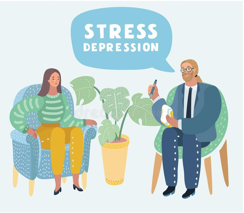 psychotherapy Conceito do psiquiatria da sociedade ilustração stock