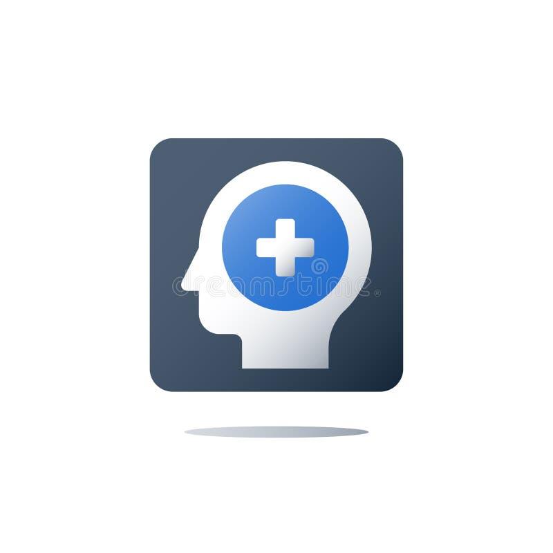 Psychotherapy i psychiatrii pojęcie, usługa zdrowotne, opieki zdrowotnej ubezpieczenie, zdrowie czeka up program, rehabilitaci kl ilustracja wektor