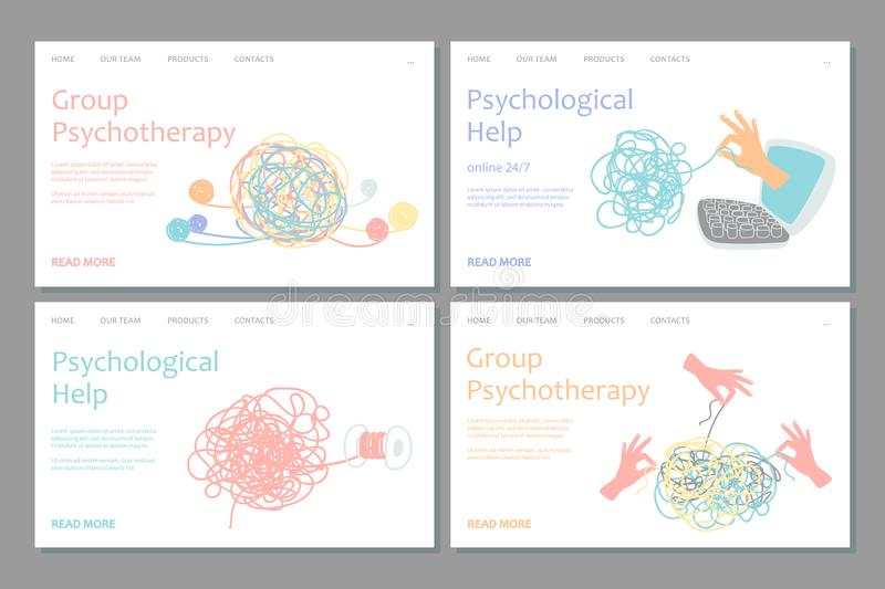 Psychotherapy landing page template. Vector psychological help web banners design. Illustration of support and consultation psychological, psychotherapy web stock illustration