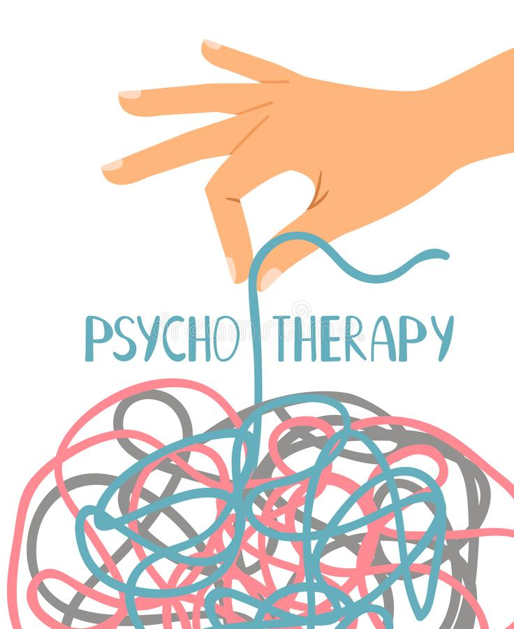 Psychotherapy poster on white vector illustration