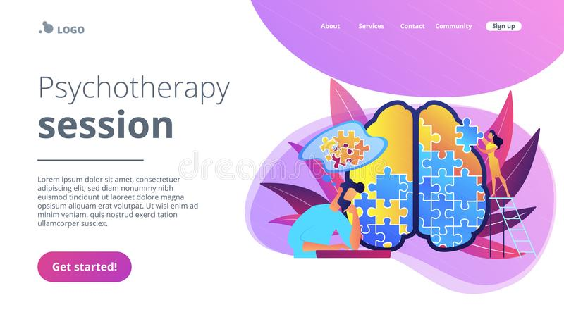 Psychotherapy session landing page vector illustration. Man doing human brain puzzle. Psychotherapy session landing page. Psychology and mental healing vector illustration