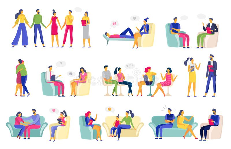 Psychotherapy session. Psychologic therapy, family psychologist and psychotherapist sessions vector illustration set vector illustration