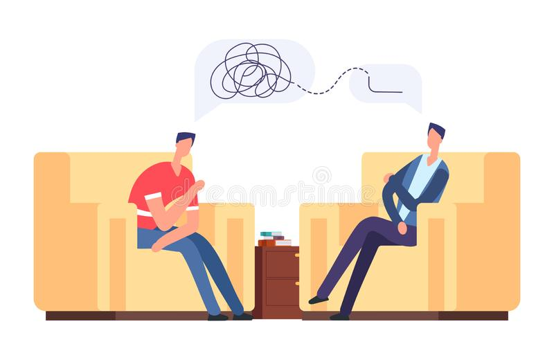 Psychotherapy session vector illustration. Frustrated man at psychologist, depression, mental disorder concept royalty free illustration
