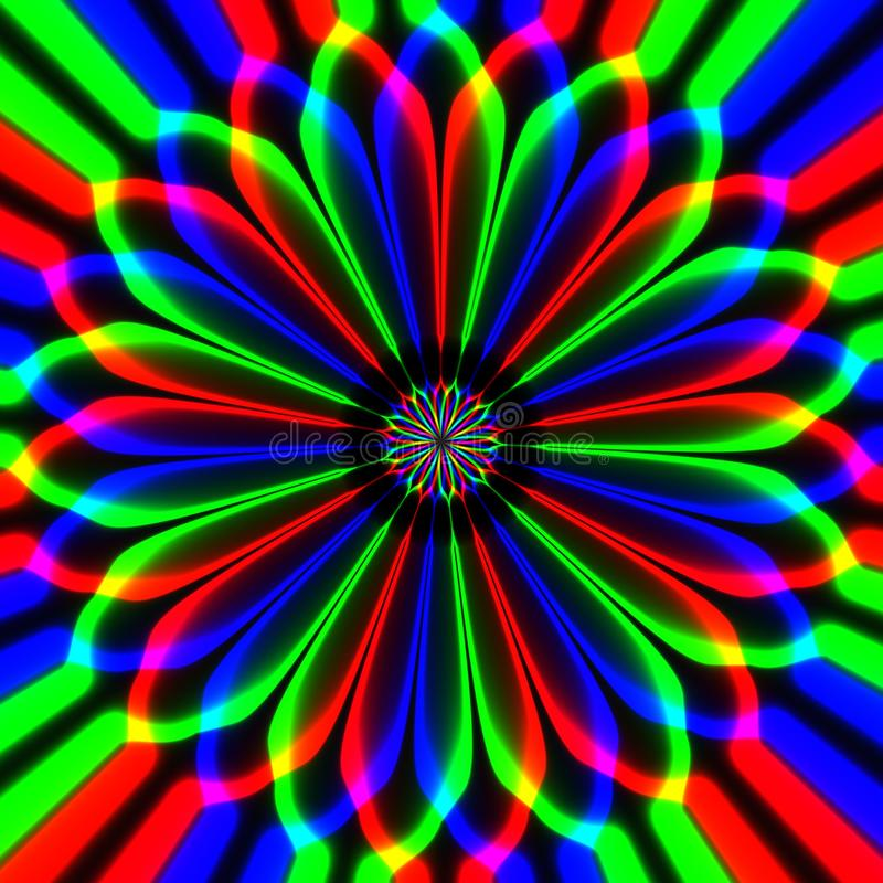 Psychotic abstract hypnotic multicolor flower in black background vector illustration