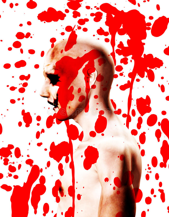 Psychotic With Blood. A Psychotic male who is covered in blood stock illustration