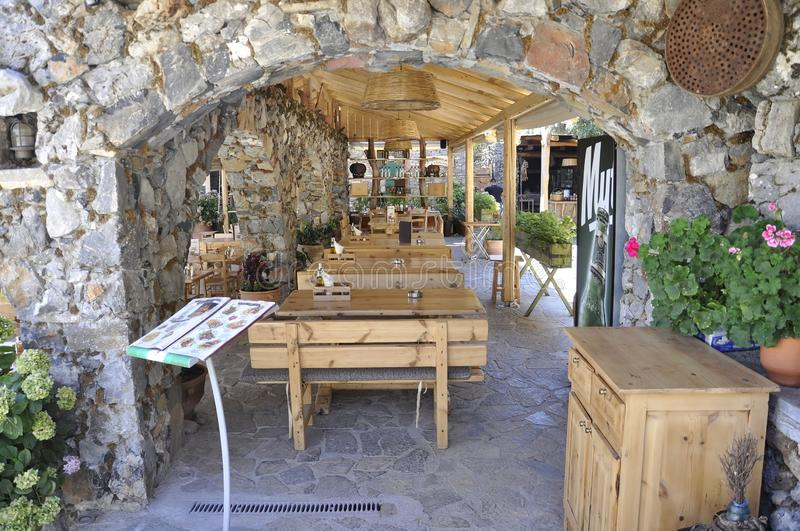 Psychro, august 29th: Cave of Zeus Way Tavern in Crete island of Greece. Tavern on the Way of Cave of Zeus in Crete island of Greece on August 2017 stock photography