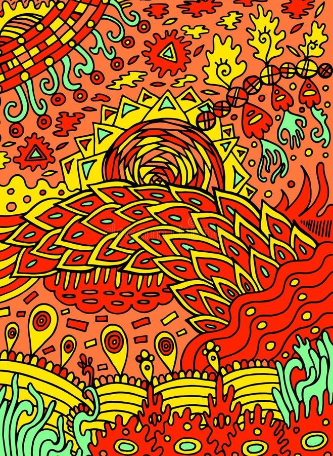 Psykedelisk abstrakt klotterkonst för färgrik hippie Hand dragen tecknad filmillustration geometrisk vektor för abstrakt illustra stock illustrationer