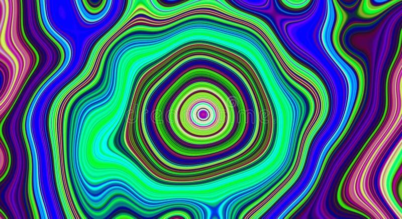 Psykedelisk abstrakt modell och hypnotisk bakgrund för trendkonst, hippie royaltyfri illustrationer