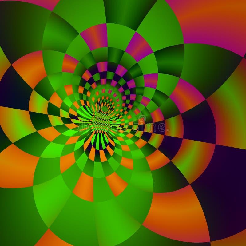 Psykedelisk cirkelbakgrundsdesign Konstaffischidé Grönt glödande ljus rengöringsduk för abstratelementillustration Stilfull tegel royaltyfri illustrationer