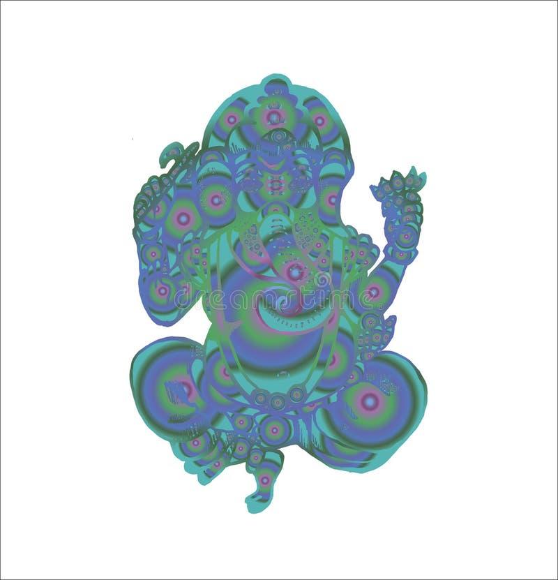 Psykedelisk färgillustration av den Ganesh dansen med lotusblomma royaltyfri illustrationer