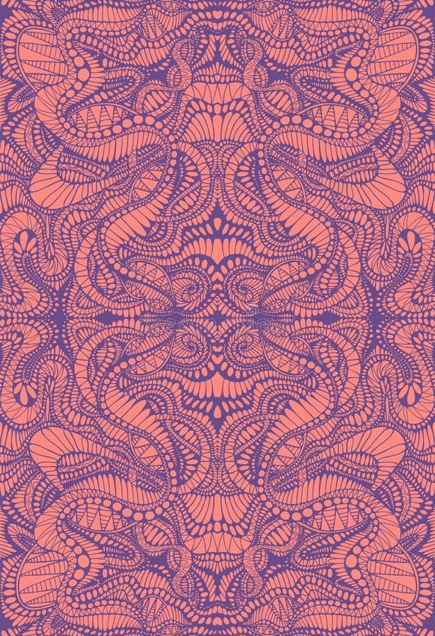 Psykedelisk färgrik dekorativ bakgrund Askgrå purpurfärgade linjer på korallfärgbakgrund Dekorativ abstrakt textur stock illustrationer