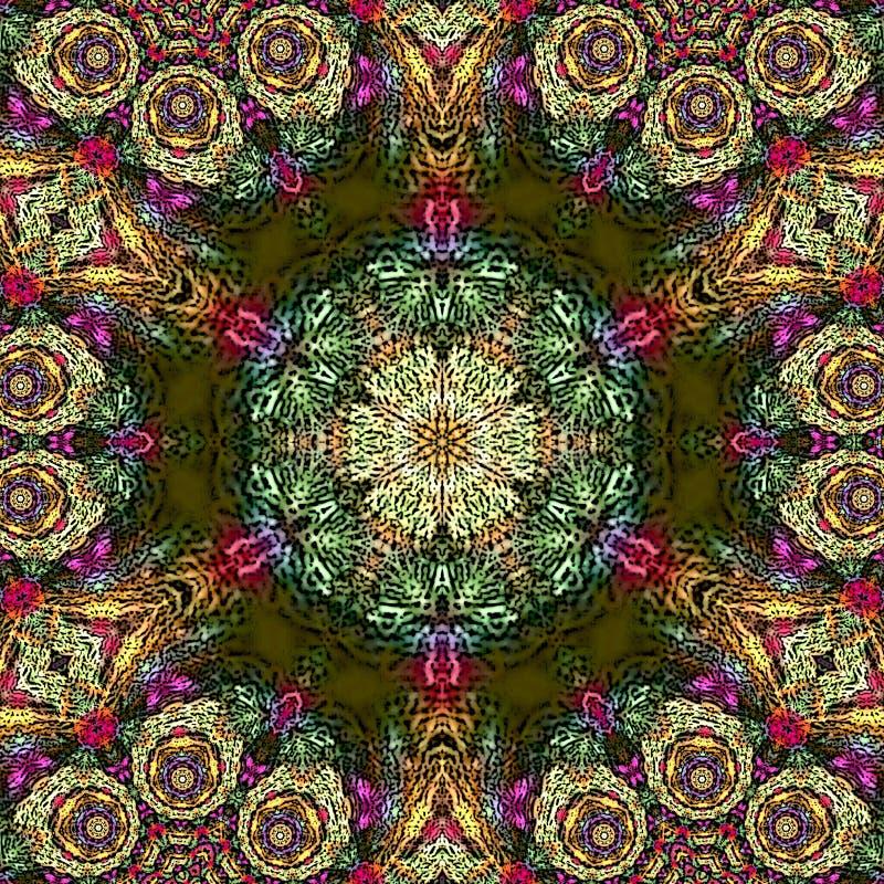 Psykedelisk Henna Mandala Doodle Flower arabesque stock illustrationer